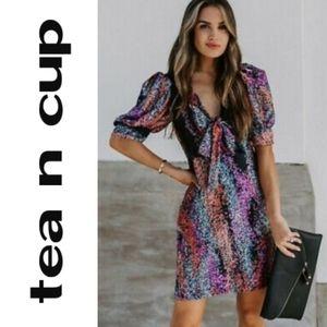 Tea n Cup Multicolor Puffy Sleeve Mini Dress  NWT!